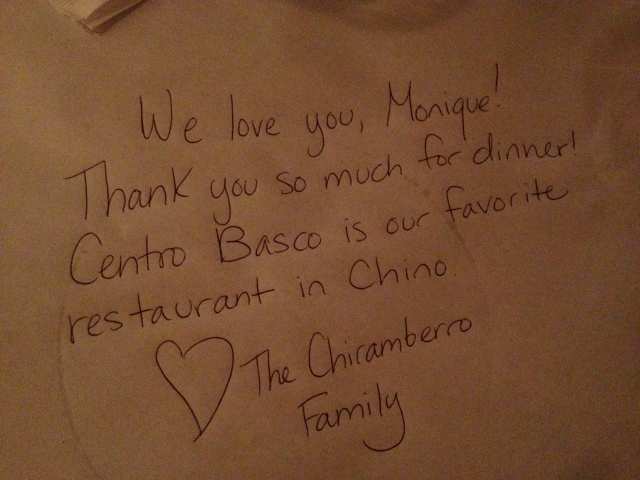 Centro Basco love note
